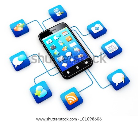 Smartphone connected to application icons   Note: All Devices design and all screen interface graphics in this series are designed by the contributor him self. - stock photo