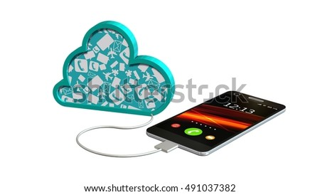 smartphone connected with a cloud - cloud computing concept - 3d rendering