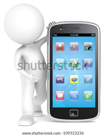 Smartphone. 3D little human character holding a Smartphone with icons. People series. - stock photo