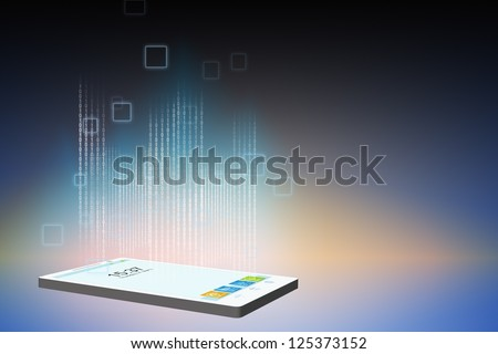 Smartphone data stream - stock photo