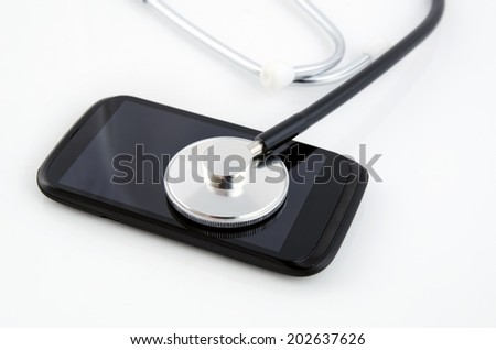 Smartphone diagnose by stethoscope. Medical concept