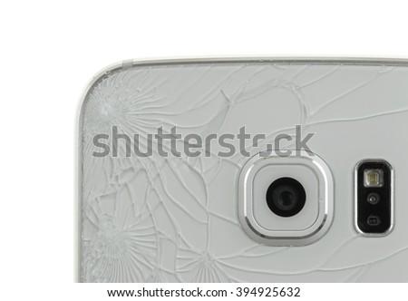Smartphone drop to the floor, broken glass (back) - stock photo