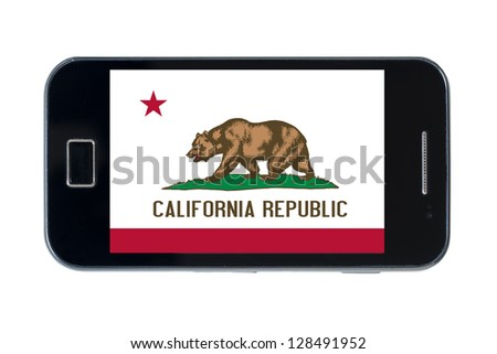 smartphone flag of us state of california on white - stock photo