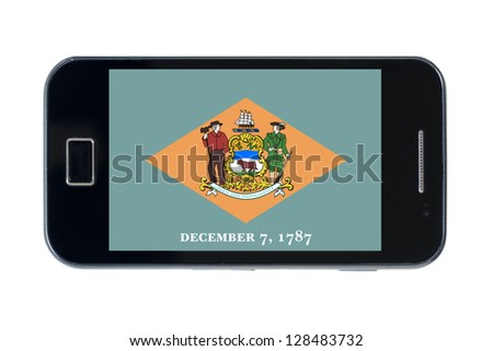 smartphone flag of us state of delaware on white - stock photo