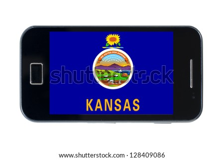 smartphone flag of us state of kansas on white - stock photo