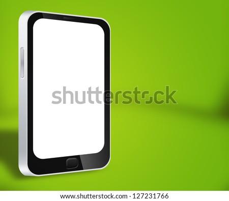 Smartphone Green Background - stock photo
