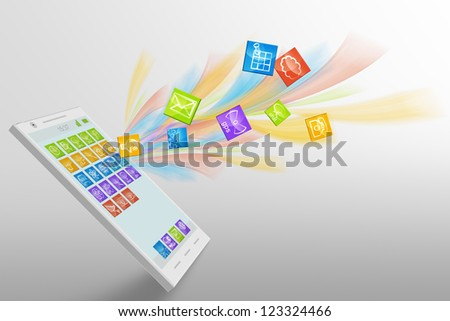 Smartphone illustration with dynamic app flow - stock photo