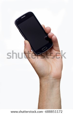Smartphone in a hand outstretched on a white background