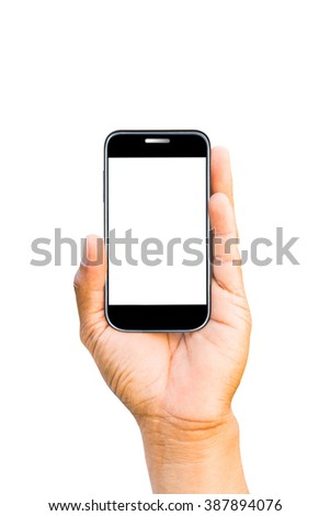 Smartphone in a male's hands isolated on white background