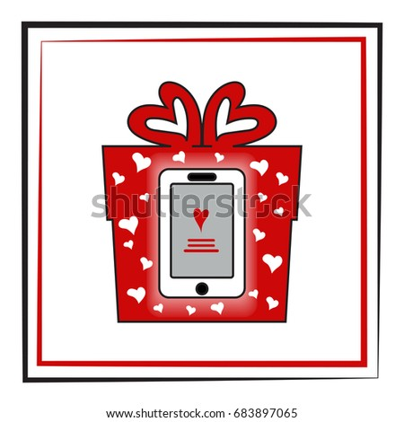 Smartphone Red Box Concept Fashionable Gift Stock Illustration
