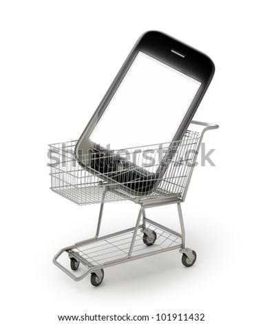 Smartphone in a shopping cart - Wireless payments and smartphone purchase concept - stock photo