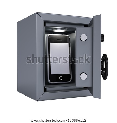 Smartphone in an open metal safe. Smartphone illuminated lamp. Isolated render on a white background