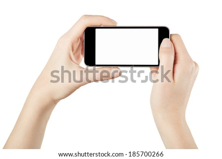 Smartphone in female hands taking photo isolated on white, clipping path included - stock photo