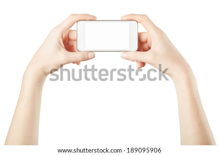 Smartphone in female hands taking photo or video on white, clipping path included - stock photo