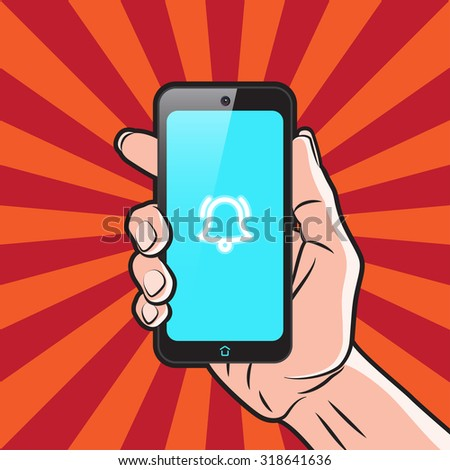 Smartphone in Hand with Alarm Icon on Screen - stock photo