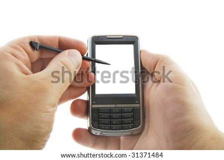 Smartphone in hands, isolated white - stock photo
