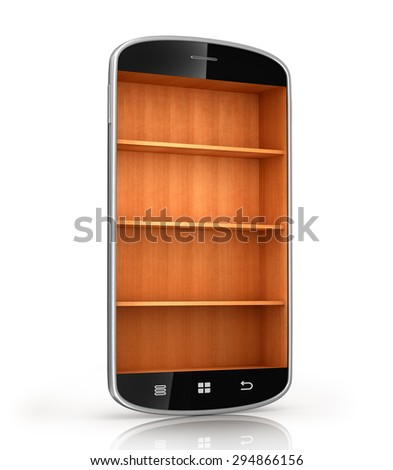 smartphone isolated on a white background with wooden shelf - stock photo