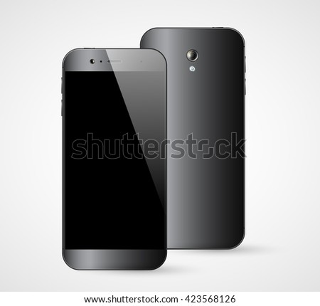 Smartphone isolated. Smart phone front and back view. Mobile phone mockup. Illustration. - stock photo