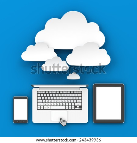 Smartphone, laptop computer and digital tablet connecting to cloud with copyspace, 3d render - stock photo