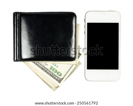 Smartphone lying near the purse with United States dollars, isolated on a white background - stock photo