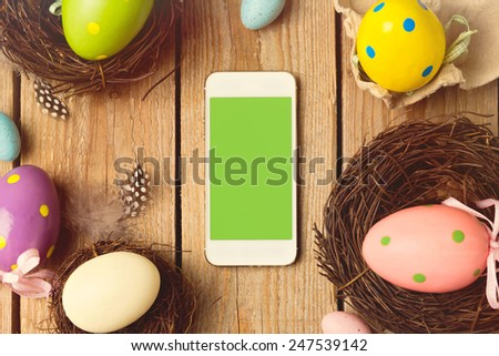 Smartphone mock up template for easter holiday app presentation - stock photo