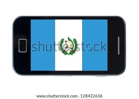 smartphone national flag of guatemala on white - stock photo