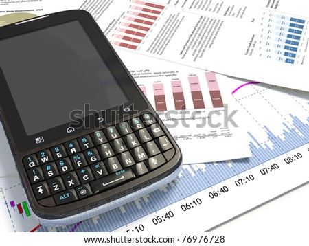 smartphone on a market report - stock photo
