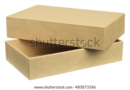 Smartphone packing box is made from recycled material, environmentally friendly. Object is isolated on white background without shadows.