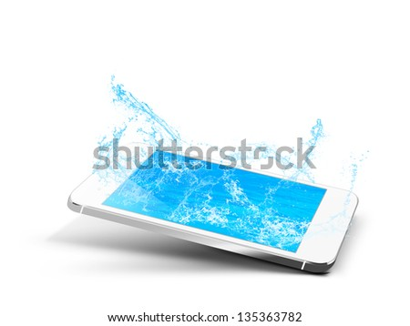 smartphone phone pool water mobile - stock photo