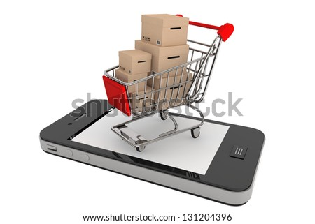 Smartphone purchase concept. Smartphone and a shopping cart with boxes on a white background - stock photo