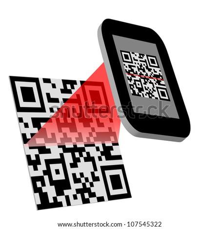 Smartphone reading QR code - stock photo