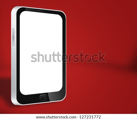 Smartphone Red Background - stock photo