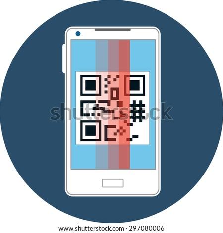 Smartphone Scanning QR Code - stock photo
