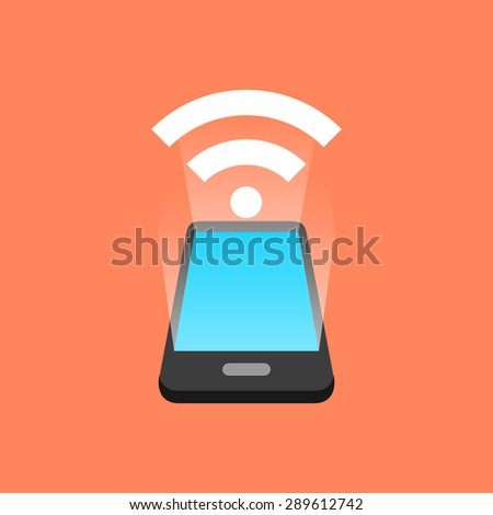 Smartphone signal concept. Isometric design. - stock photo