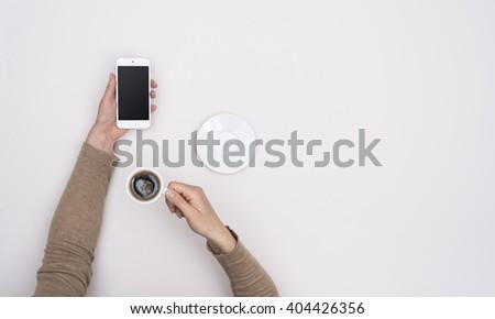 smartphone simple hero header - stock photo