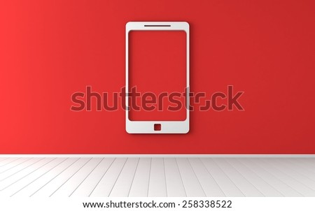 Smartphone symbol on red wall - stock photo