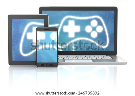 Smartphone, tablet and laptop with gaming icons, 3d render - stock photo