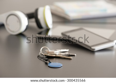Smartphone, tablet and NFC tag, Near Field Communication theme - stock photo