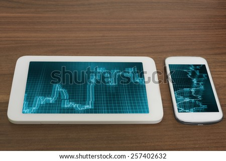 Smartphone tablet app trader bank screen. Office deviece on wooden desk. Display of quotes pricing graph visualization. Stock market graph and bar chart price.MORE SIMILAR IN MY GALLERY - stock photo