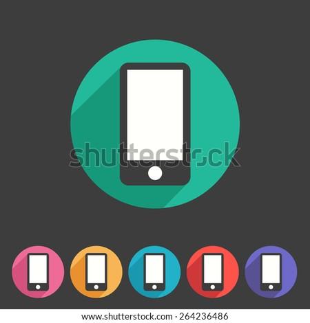 Smartphone tablet flat icon badge set symbol - stock photo