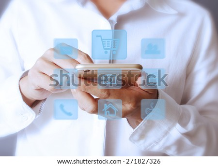 Smartphone touch screen social networking,business - stock photo