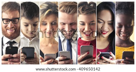 Smartphone users - stock photo