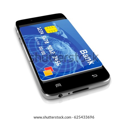 Smartphone with a Bank Card 3D Illustration on White, Remote Payment Service Concept