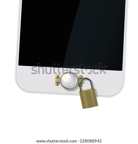 Smartphone with a mechanical lock on the power button. Safety concept - stock photo