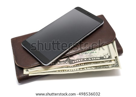 smartphone with a purse and money