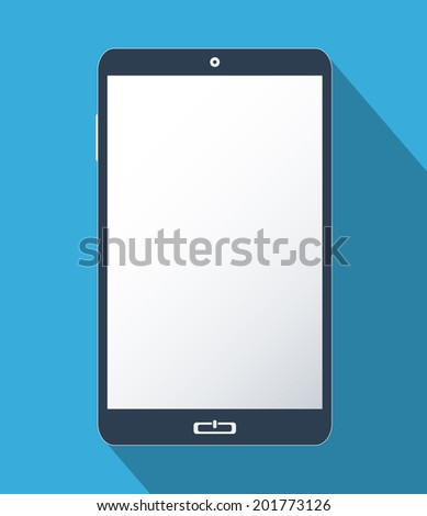 Smartphone with blank screen. Flat design illustration.