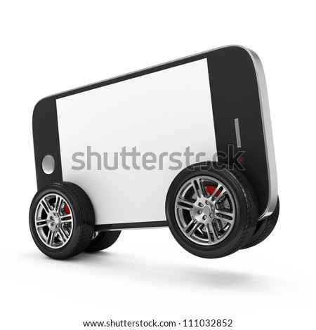 Smartphone with Blank Screen on Wheels isolated on white background - stock photo