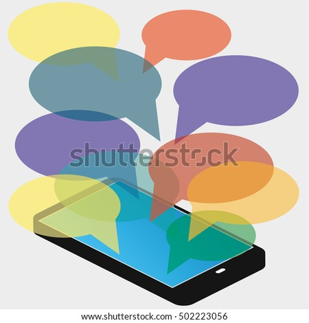 smartphone with blank speech bubbles for text. Text messaging flat design concept.