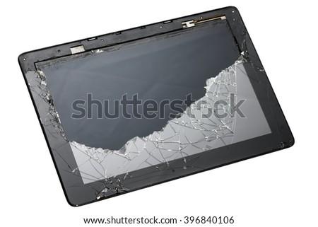 Smartphone with broken screen - stock photo