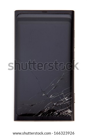 Smartphone with broken screen isolated on white.